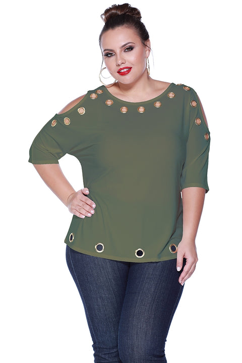 3/4 Dolman Sleeve Top with Shiny Grommets - Plus MILITARY GREEN/GOLD