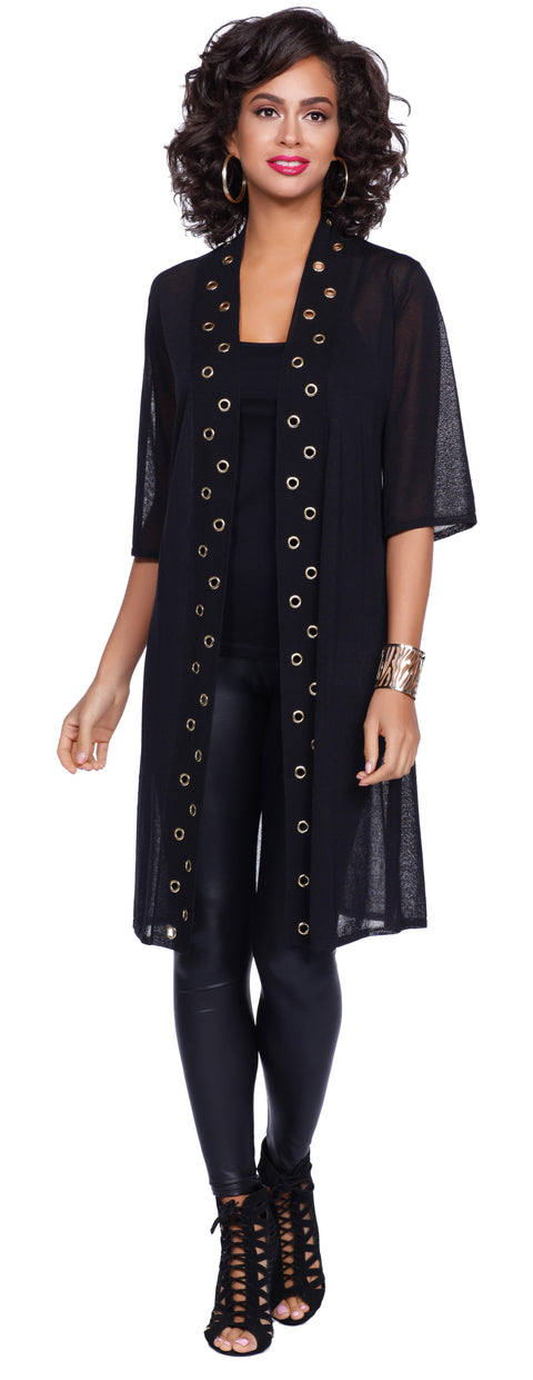 3/4 Sleeve Open Duster with Grommet Trim BLACK/GOLD
