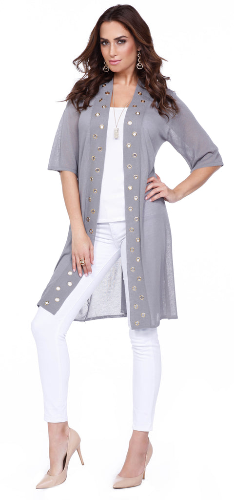 3/4 Sleeve Open Duster with Grommet Trim HEATHER GREY/GOLD