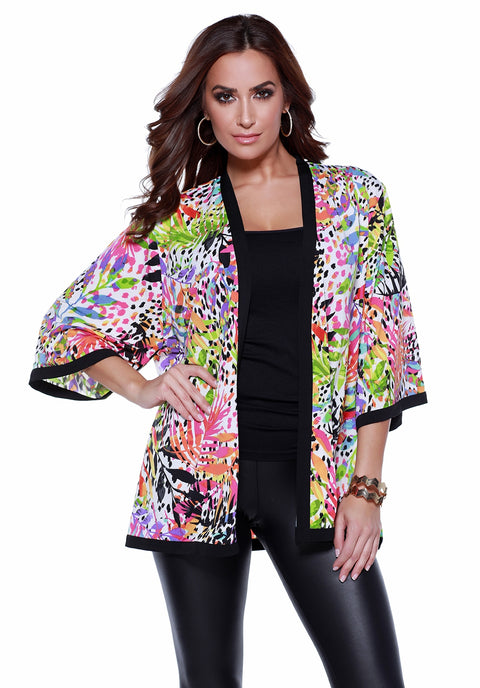 3/4 Printed Open Kimono with Contrast Detail TROPICAL PARADISE