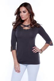3/4 Sleeve Pullover with Crisscross at Neckline and Grommet Detailing DARK NIGHT/GOLD