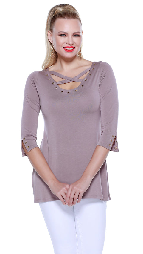 3/4 Sleeve Pullover with Crisscross at Neckline and Grommet Detailing TRUFFLE/GOLD