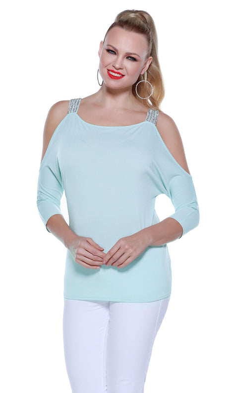 3/4 Sleeve Cold Shoulder Pullover with Rhinestone Straps at Shoulders SEA MIST