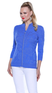 3/4 Sleeve Embossed Knit Cardigan with Rhinestone Zipper CORNFLOWER
