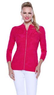 3/4 Sleeve Embossed Knit Cardigan with Rhinestone Zipper POMEGRANATE PUNCH