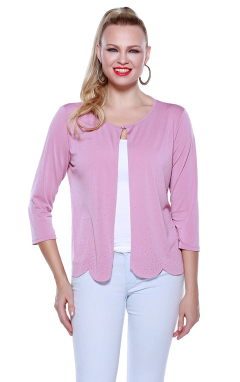 Women's 3/4 Sleeve Scattered Rhinestone Open Cardigan | Last Call