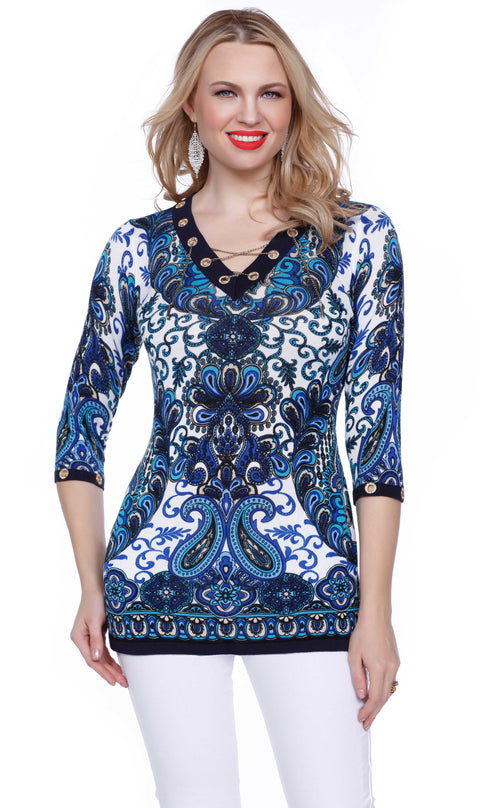 3/4 Sleeve Print Tunic with Gold Rhinestone Grommets and Lace Up Chain PAISLEY PEACOCK