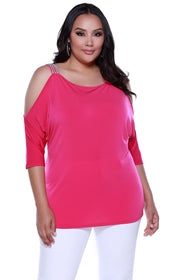 3/4 Sleeve Cold Shoulder Pullover with Rhinestone Straps at Shoulders POMEGRANATE PUNCH