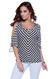 3/4 Sleeve Striped Pullover with Tie Sleeves, Grommets, and Lacing Detail BLACK/WHITE