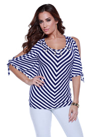 3/4 Sleeve Striped Pullover with Tie Sleeves, Grommets, and Lacing Detail NAVY/WHITE