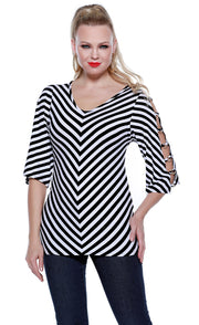 3/4 Sleeve Striped Swing Tunic with Banded Open Sleeves BLACK/WHITE