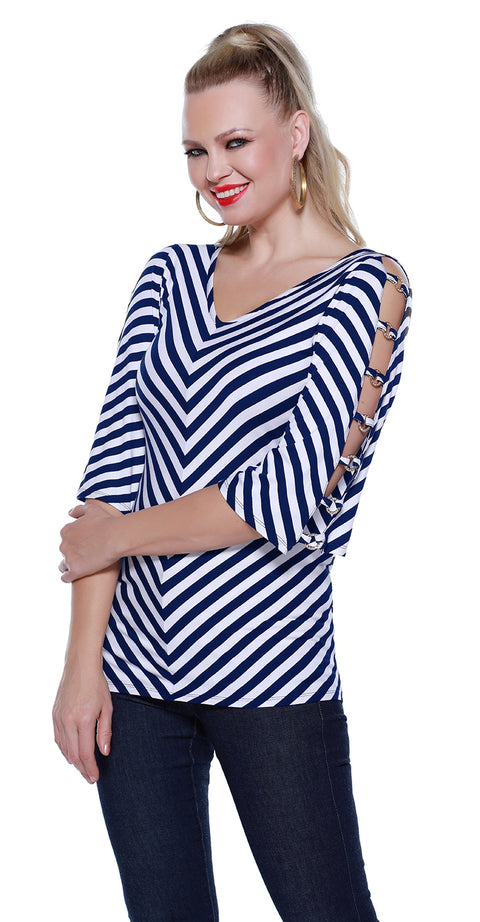 3/4 Sleeve Striped Swing Tunic with Banded Open Sleeves NAVY/WHITE