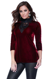 3/4 Sleeve Velvet Mock Neck with Lace Applique BLACK CHERRY/BLACK