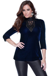 3/4 Sleeve Velvet Mock Neck with Lace Applique NAVY/BLACK