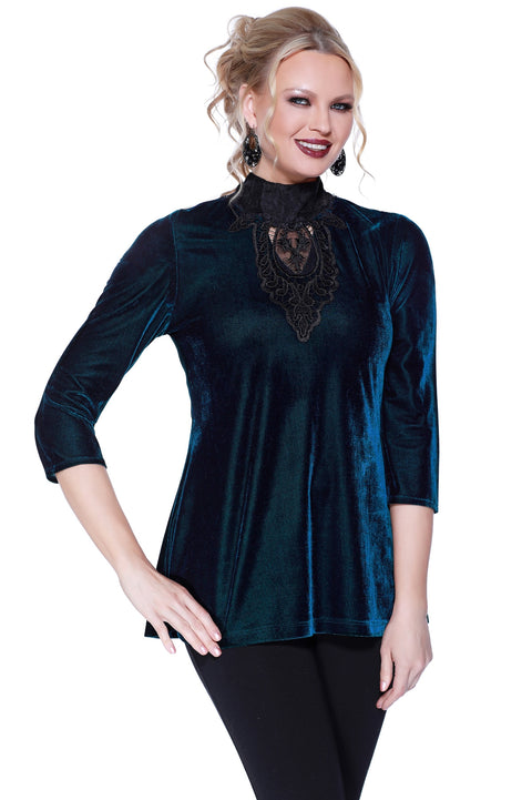 3/4 Sleeve Velvet Mock Neck with Lace Applique WINTER TEAL/BLACK