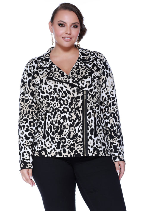 Animal Print Moto Jacket Cardigan with Zippered Pockets - Plus BENGAL
