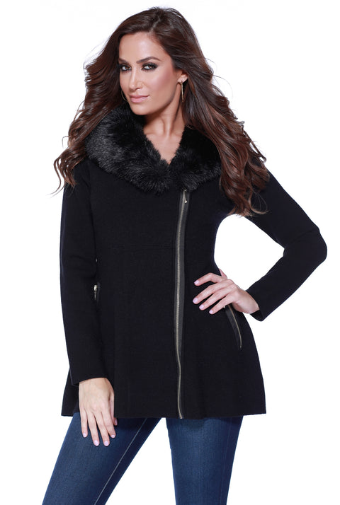 Asymmetrical Zip-up Coatigan with Detachable Faux Fur Collar BLACK/BLACK