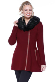 Asymmetrical Zip-up Coatigan with Detachable Faux Fur Collar BLACK CHERRY/BLACK