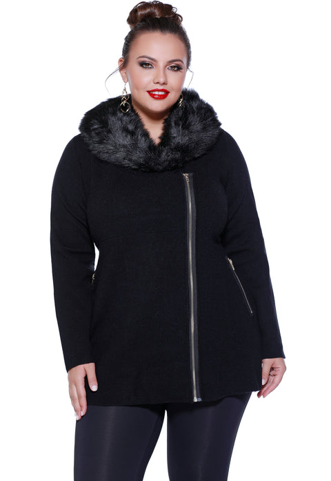 Asymmetrical Zip-up Coatigan with Detachable Faux Fur Collar - Plus BLACK/BLACK