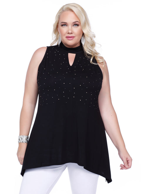 Bare Shoulder Top with High Collar, Keyhole Cutout and Scattered Rhinestones - Plus BLACK