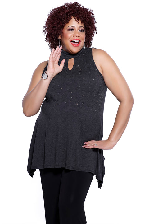 Bare Shoulder Top with High Collar, Keyhole Cutout and Scattered Rhinestones - Plus HEATHER CHARCOAL