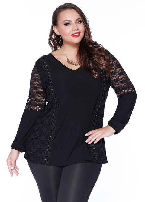 Blouson Sleeve Tunic with Gold Grommet & Lace Detail - Plus BLACK/BLACK