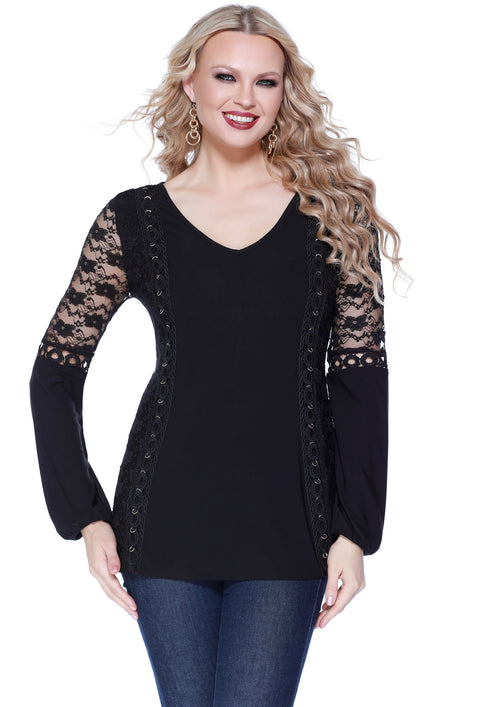 Blouson Sleeve Tunic Top with Gold Grommet and Lace Detail BLACK/BLACK