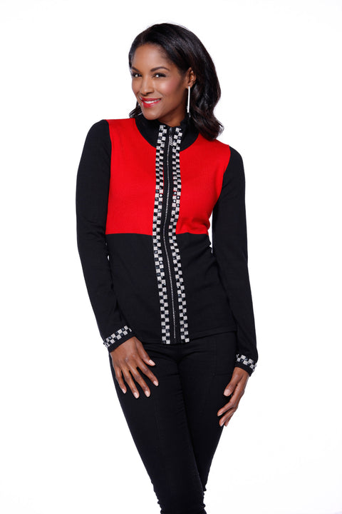Checkerboard Rhinestone Trim Zip Up Sweater BLACK/BELLDINI RED