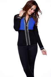 Checkerboard Rhinestone Trim Zip Up Sweater BLACK/COBALT