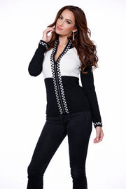 Checkerboard Rhinestone Trim Zip Up Sweater BLACK/IVORY