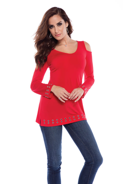 Cold Shoulder Pullover With Grommets BELLDINI RED/ SILVER