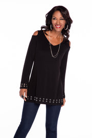Cold Shoulder Pullover With Grommets BLACK/SILVER
