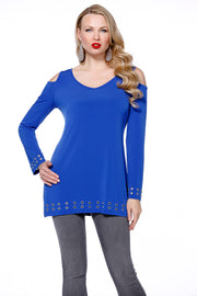 Cold Shoulder Pullover With Grommets ROYAL BLUE/SILVER