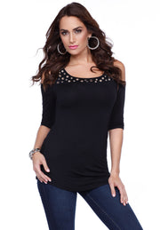 Cold Shoulder Top with Multisize Grommet Yoke Trim BLACK/SILVER