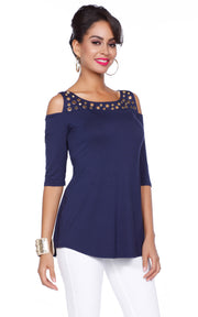 Cold Shoulder Top with Multisize Grommet Yoke Trim NAVY/GOLD