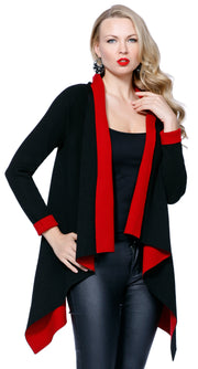Color Pop Long Sleeve Open Cardigan BLACK/BELLDINI RED