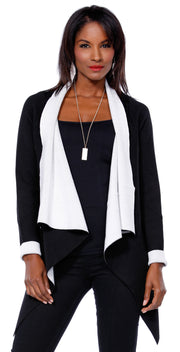Color Pop Long Sleeve Open Cardigan BLACK/IVORY