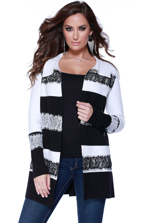 Contrast Stripe Cardigan with Lace Applique WINTER WHITE/BLACK
