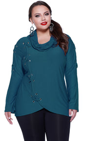 Cowl Neck Crossover Top With Unique Laced Design - Plus WINTER TEAL/SILVER