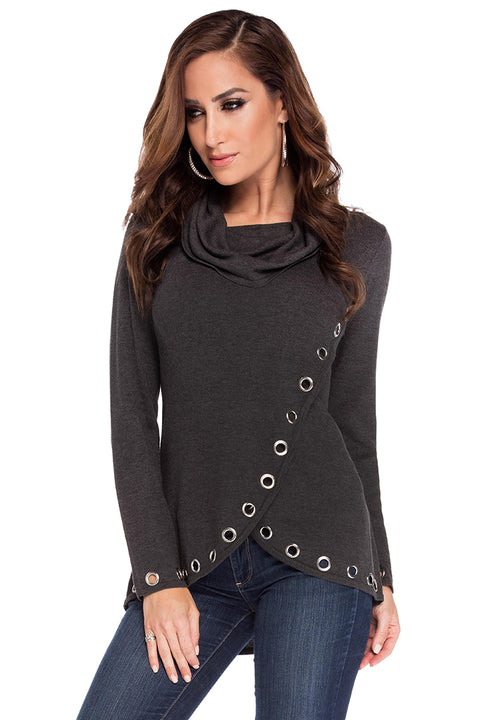 Cowl Neck Grommet Sweater HEATHER CHARCOAL