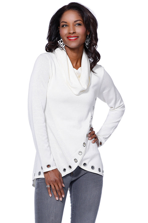 Cowl Neck Grommet Sweater IVORY
