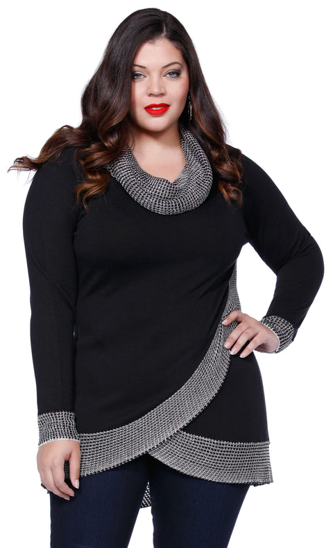 Cowl Neck Pullover with Metallic Knit Detail - Plus BLACK/SILVER