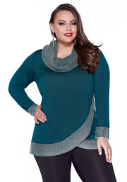 Cowl Neck Pullover with Metallic Knit Detail - Plus WINTER TEAL/SILVER