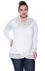 Cowl Neck Pullover with Metallic Knit Detail - Plus WINTER WHITE/SILVER