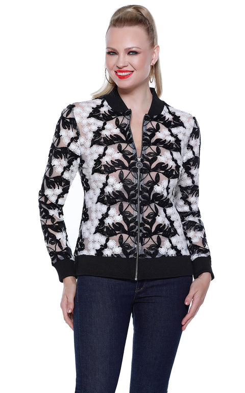 Crochet Lace Bomber Jacket with Ribbed Collar, Cuffs, and Hemline IVORY/BLACK