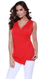 Crossover Tunic Tank with Large Grommet Details BLOOD ORANGE