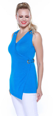 Crossover Tunic Tank with Large Grommet Details MEDITERRANEAN