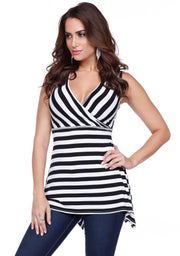 Darling Directional Striped Handkerchief Hem Tank with Rhinestone Trim at Waist. BLACK/WHITE