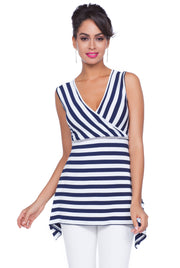 Darling Directional Striped Handkerchief Hem Tank with Rhinestone Trim at Waist. NAVY/WHITE