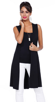 Dramatic Duster Vest with Side Slits & Crisscross Back Straps BLACK